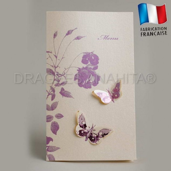 carte menu mariage theme papillon violet pictures. Black Bedroom Furniture Sets. Home Design Ideas