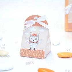 Petit pochon à dragées thème hiboux orange