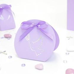 Ballotin à dragées colombe lilas et argent