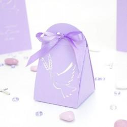 Pochette à dragées colombe lilas et argent