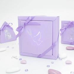 Grande boîte à dragées colombe lilas et argent