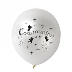 10 Ballons communion blanc métallisés