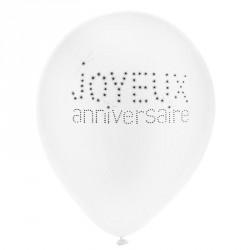 8 Ballons gonflables anniversaire blanc