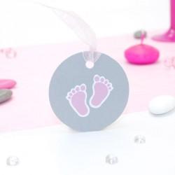 Etiquette petit pied de bébé rose