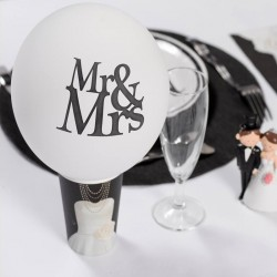 8 Ballons gonflables Mr & Mrs blanc