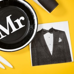 20 serviettes de table Mrs thème Mr & Mrs