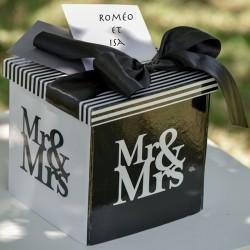 Urne noire et blanche thème Mr & Mrs