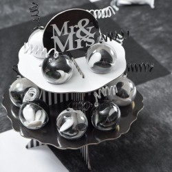Présentoir noir thème Mr & Mrs + 12 boules 5 cm