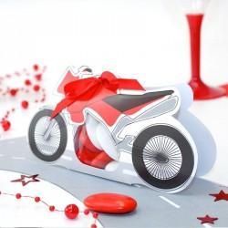 Contenant à dragées moto roadster rouge