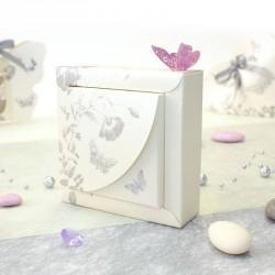 Contenant à dragées papillon gris