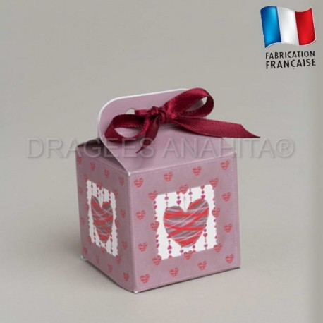 Cube à dragées thème  coeur