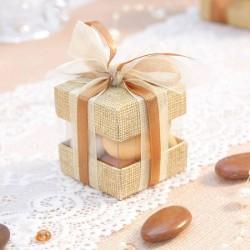 Cube à dragées duo toile de jute pour mariage vintage
