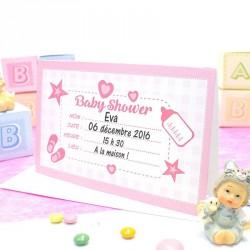 Carte d'invitation Baby Shower Rose