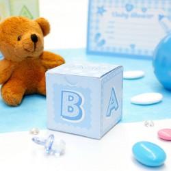 Cube à dragées Baby Shower Bleu