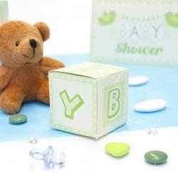 Cube à dragées Baby Shower Vert