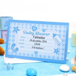 Carte d'invitation Baby Shower Bleu
