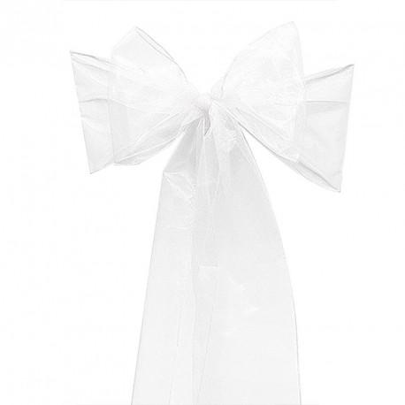 Noeud de chaise en organza blanc pour mariage
