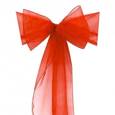 Noeud de chaise rouge en organza pour mariage