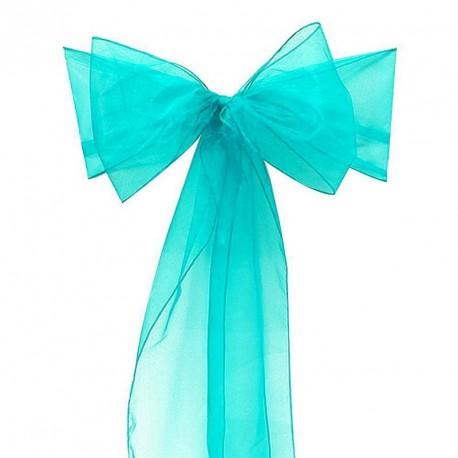 Noeud de chaise turquoise en organza pour mariage