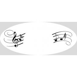 Etiquette ovale transparente Musique
