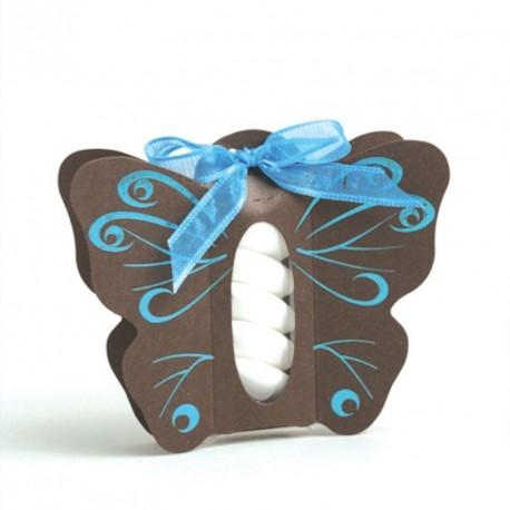 Boite à dragées papillon chocolat turquoise