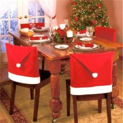 Housse de chaise de Noël en forme de bonnet du pere Noël