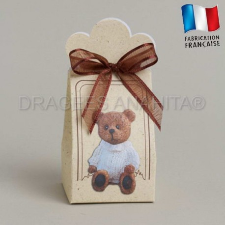 Ballotins à dragées thème ours calin  ballotins dragées bapteme