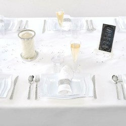 Nappe rectangle blanche tissu anti tache 180 x 300 cm