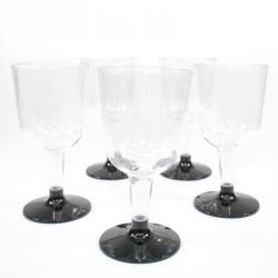 5 Verres à vin noirs en plastique jetable
