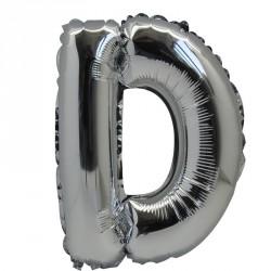 Ballon Lettre D métal argenté 36cm