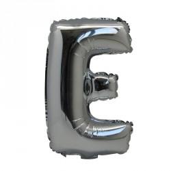 Ballon Lettre E métal argenté 36cm