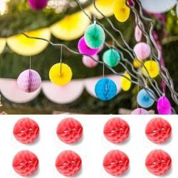 8 Boules Alvéoles 10 cm Corail
