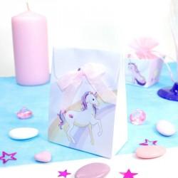 10 Pochettes à dragées Licorne arc en ciel