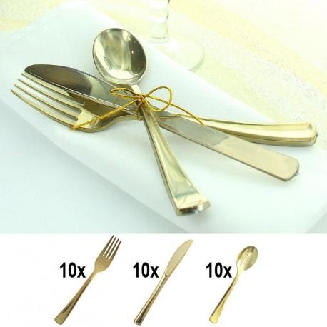 Ménagère Or 30 pièces en plastique doré