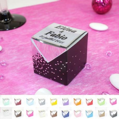 10 Cubes à dragées Argenté miroir