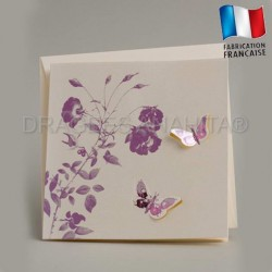 Faire part mariage papillon violet