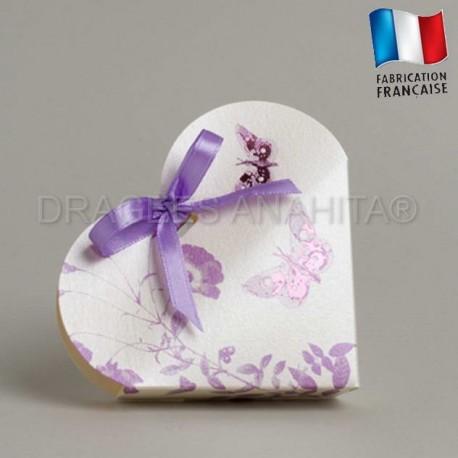 Boites à dragées coeur theme papillon violet