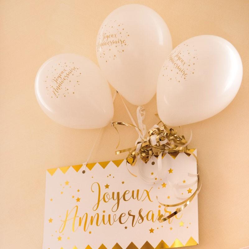 8 Ballons Joyeux Anniversaire Blanc Et Or élégants Dragées Anahita