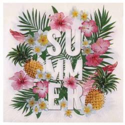 20 Serviettes thème Tropical, faites de papier de qualité avec motif