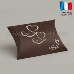 Pochette à dragées thème ivoire chocolat