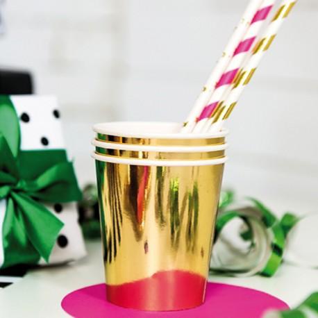 6 Gobelets Or en carton pour boissons fraîches.