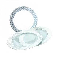 5 petites assiettes transparentes bord argenté diamant. Pratiques et élégantes.