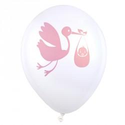 8 Ballons roses baptême ou naissance pour déco intérieure ou extérieure.