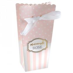 """6 contenants à dragées """"mademoiselle rose"""" en carton, résistants et élégants."""