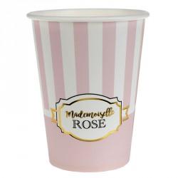 """10 Gobelets en carton """"Mademoiselle Rose"""" pour les petites filles."""