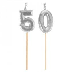 Bougies Joyeux Anniversaire 50 ans pour une décoration plus festive et lumineuse.