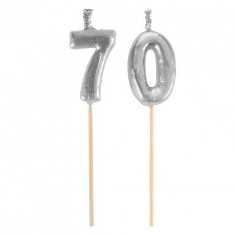 Bougies Joyeux Anniversaire 70 ans pour valoriser le gâteau et fêter dignement votre anniversaire.