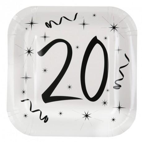 10 Assiettes Anniversaire 20 ans pour une décoration de table d'anniversaire réussie et festive.