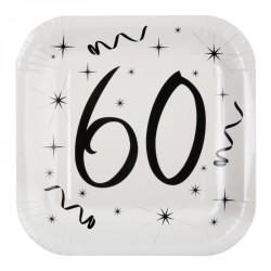 10 Assiettes Anniversaire 60 ans de qualité exceptionnelle, pratiques et résistantes.