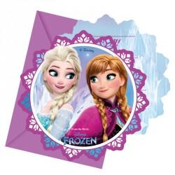 6 Cartes d'invitation La Reine des Neiges + Enveloppe. Carton d'invitation original, en forme de flocon de neige.
